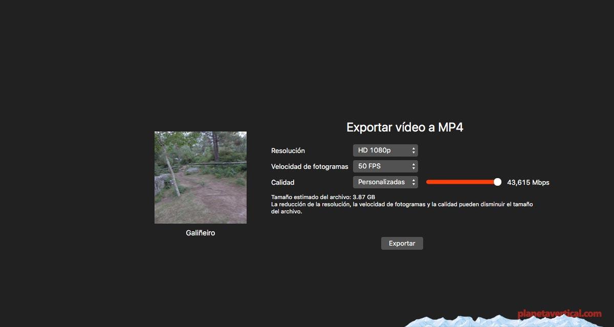 Opciones de exportación Garmin Virb Edit